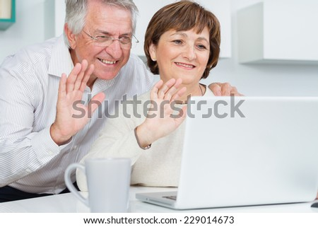 Seniors couple using a computer chatting via webcam and waving hands  - stock photo