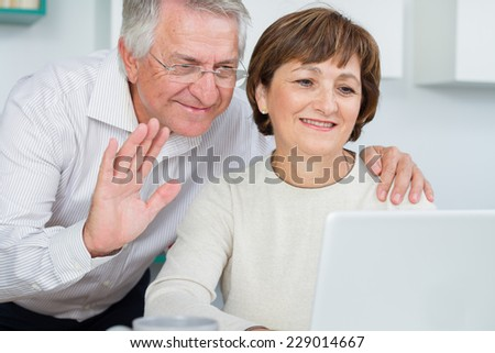 Seniors couple using a computer talking with video chat  - stock photo