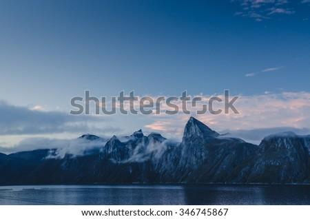 Senja mountain range, Segla peak - stock photo