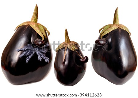 Senor Eggplant. Eggplant with nose and mustache. Funny eggplant isolated on white background. Face shaped Eggplant on white background. Mutant eggplant. - stock photo