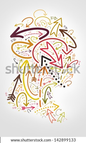 Sense concept composed with arrow in head shape - stock photo