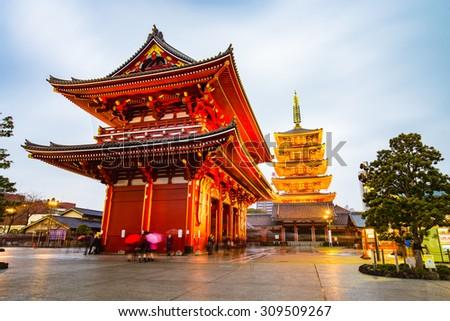 Senso-ji temple in Tokyo, Japan - stock photo