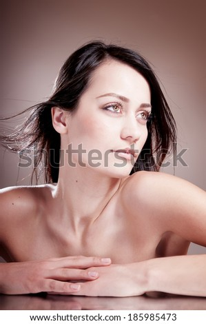 Sensual beauty woman with bare shoulder - stock photo