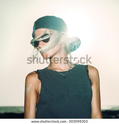 Sensual Blond Girl trendy Urban style - stock photo