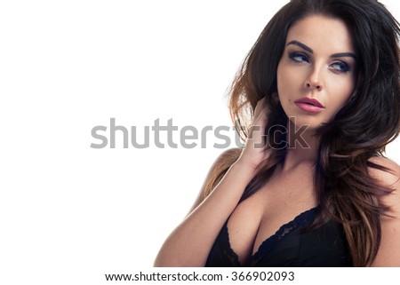 Sensual brunette woman - stock photo