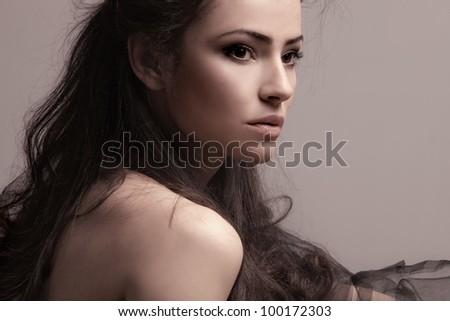 sensual brunette woman portrait - stock photo