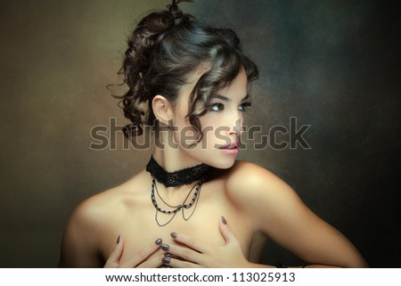 sensual brunette woman portrait studio shot - stock photo