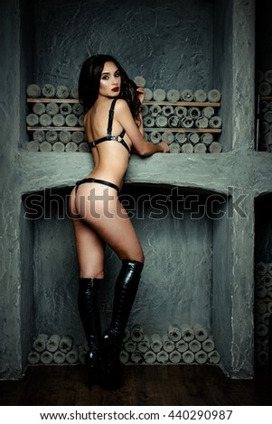 sensual brunette woman with perfect sexy lingerie - stock photo