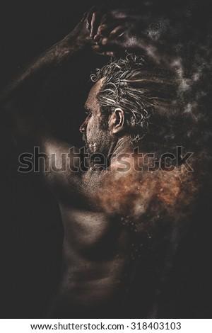 Sensual, concept bdsm, slave and master, naked man - stock photo