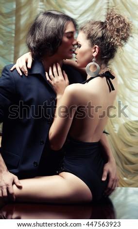 Sensual couple loving sex. - stock photo