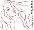Sensual female red laconic heads outline over white, hand drawing simple illustration - stock photo
