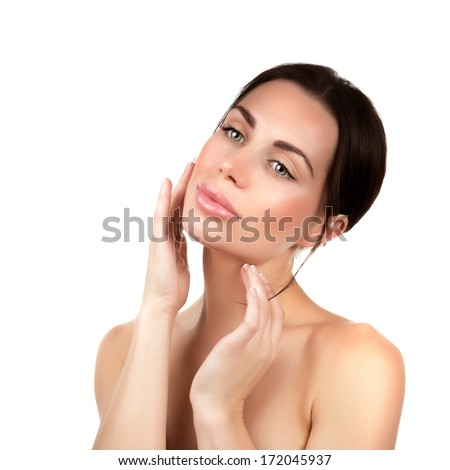 Sensual girl portrait isolated on white background, enjoying day spa, using facial cream, natural cosmetics, perfect complexion, purity and beauty concept - stock photo