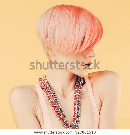 Sensual Girl with fashionable Hair. Color hair trend - stock photo
