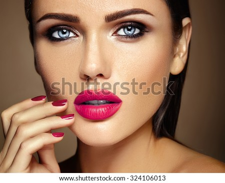 sensual glamour warm portrait of beautiful  woman model lady with fresh daily makeup with pink lips color and clean healthy skin face  - stock photo
