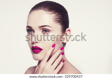 sensual portrait of beautiful woman model lady with fresh daily makeup with red lips and clean healthy skin face.Photo toned style instagram filters. - stock photo