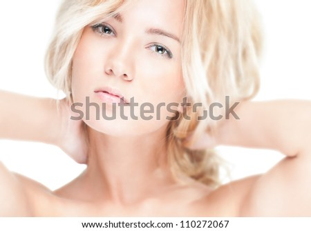 Sensual portrait of young beautiful blonde woman on white background. Sexy topless girl with curly hair looking passionate and tempting. Youth, pure natural beauty and passion. - stock photo