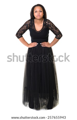 Sensual Woman in Black Evening Fluttering Dress - stock photo
