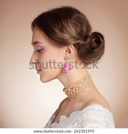 Sensual Woman in bride dress. Beauty model girl.Beautiful Girl - stock photo
