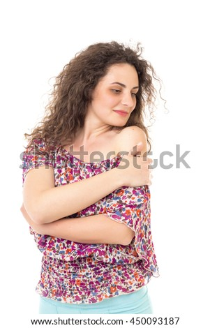 Sensual woman with curly hair looking  over the shoulder isolated on white background - stock photo