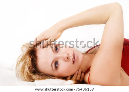 Sensuality blonde woman in red - stock photo