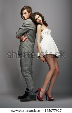 Sensuality. Romance. Newlyweds Couple Back to Back - stock photo