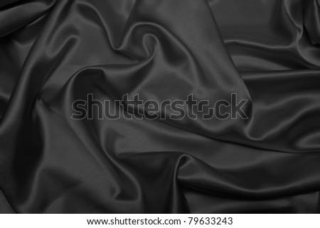 Sensuous Smooth Black Satin - stock photo