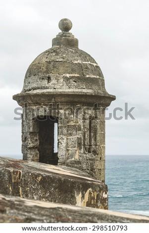 Sentry box overlooking the Atlantic Ocean at 'El Morro' (Castillo San Felipe del Morro) San Juan, Puerto Rico - stock photo