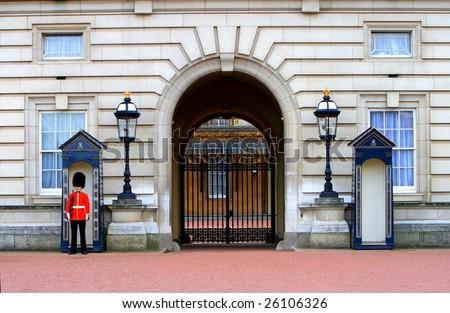 sentry on duty at Buckingham Palace - stock photo