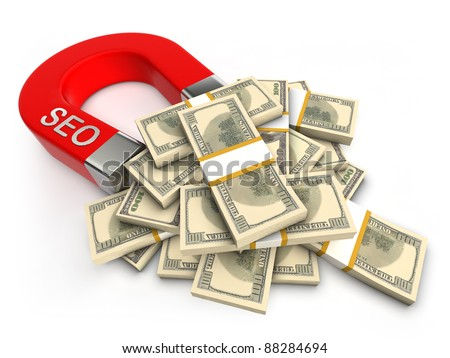 SEO attracts money - stock photo