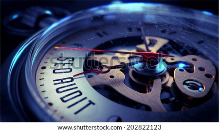 Seo Audit on Pocket Watch Face with Close View of Watch Mechanism. Time Concept. Vintage Effect. - stock photo