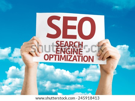 SEO card with sky background - stock photo