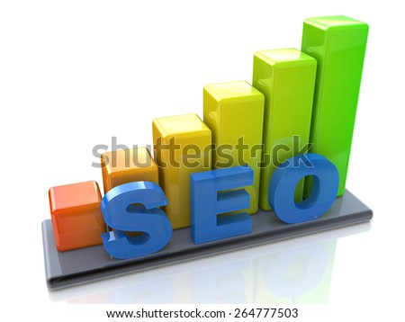 SEO concept and colorful graph - stock photo