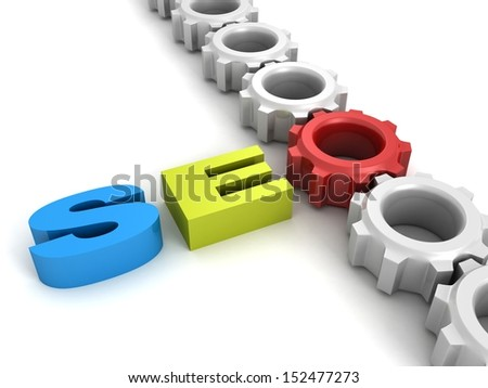 SEO concept big text letters with connected work gears - stock photo