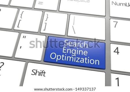 SEO concept: blue Search Engine Optimization key on white keyboard - stock photo