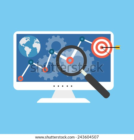 SEO concept. Flat design stylish. Isolated on color background - stock photo