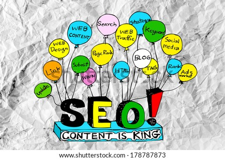 Seo Idea SEO Search Engine Optimization  on crumpled paper - stock photo