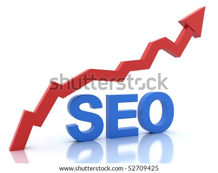 Seo in blue color and a graph in red color isolated on white - stock photo