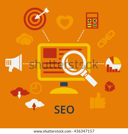 SEO infographic design concept icons for web and mobile services and apps. illustration. Symbols template combined icons which symbolized a success internet searching optimization process. - stock photo