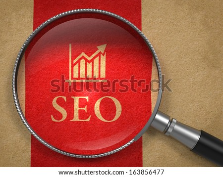 SEO - Internet Concept: Magnifying Glass with SEO and Growth Chart Icon on Old Paper with Red Vertical Line Background. - stock photo