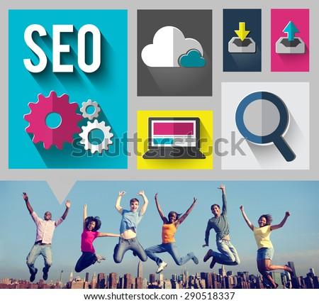 SEO Internet Online Optimization Search Technology Concept - stock photo