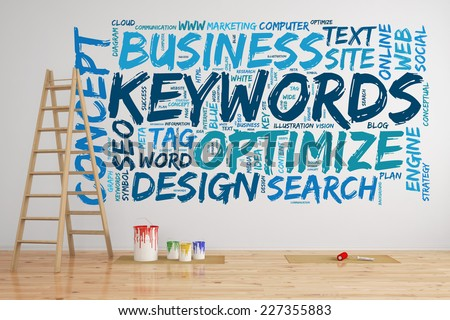 SEO keywords tag cloud on a wall with words like optimize and search (3D Rendering) - stock photo