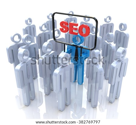 SEO man in the crowd of people in the design of the information related to Internet technologies - stock photo