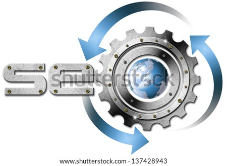 SEO Metal Gear / Illustration with metal written SEO, metal gear and blue globe - stock photo