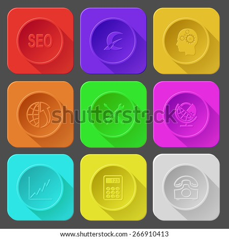 seo, monetary sign, human brain, globe and array up, screwdriver and spanner, globe and lock, diagram, calculator, rotary phone. Color set raster icons. - stock photo