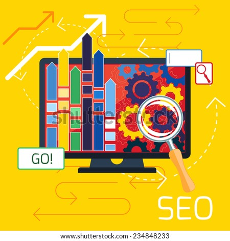 SEO optimization, programming process and web analytics elements. Raster version - stock photo
