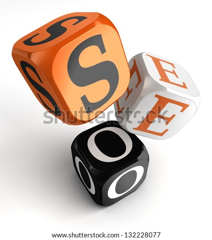 seo orange black dice blocks on white background. clipping path included - stock photo