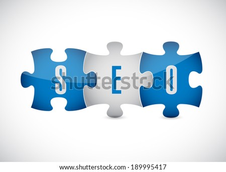 seo puzzle pieces illustration design over a white background - stock photo