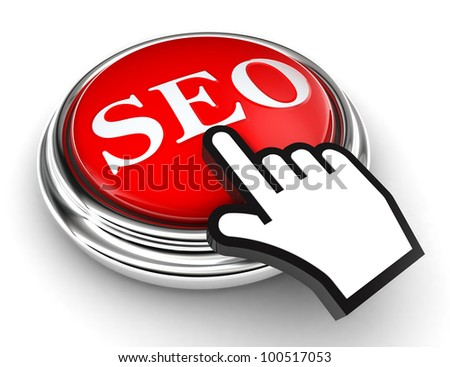 seo red button and cursor hand on white background. clipping paths included - stock photo