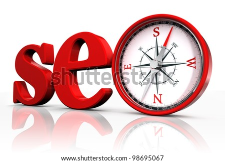 seo red word and conceptual compass on white background.clipping path included - stock photo