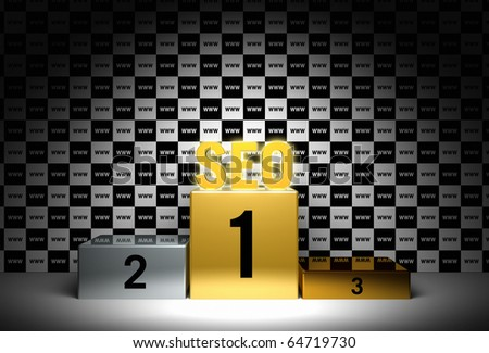 SEO Rendering concerning a better page rank by search engine optimization - stock photo